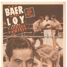 Cine: IDOLO DE LAS MUJERES PROGRAMA TARJETA MGM MYRNA LOY MAX BAER PRIMO CARNERA JACK DEMPSEY. Lote 17969453