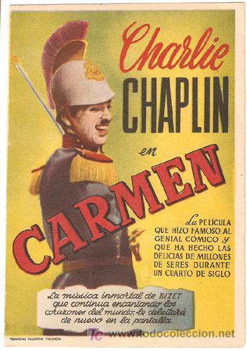 CARMEN PROGRAMA DOBLE CHARLES CHAPLIN EDNA PURVIANCE BEN TURPIN (Cine - Folletos de Mano - Comedia)