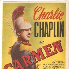Cine: CARMEN PROGRAMA DOBLE CHARLES CHAPLIN EDNA PURVIANCE BEN TURPIN. Lote 11397612