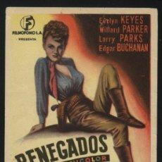Cine: P-1343- RENEGADOS (RENEGADES) (EVELYN KEYES - WILLARD PARKER - LARRY PARKS - EDGAR BUCHANAN). Lote 23635761