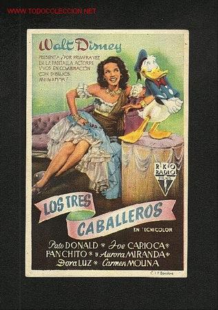 LOS TRES CABALLEROS (WALT DISNEY) (Cine - Folletos de Mano - Infantil)