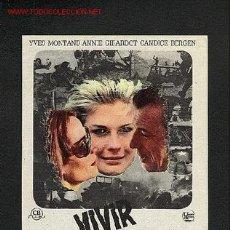 Cine: VIVIR PARA VIVIR (IVES MONTAND, ANNIE GIRARDOT). Lote 1251426