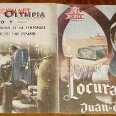 Cine: PROGRAMA DOBLE - LOCURA DE AMOR - DE JUAN DE ORDUÑA , CON AURORA BAUTISTA Y SARA MONTIEL,FERNANDO RE. Lote 1394304