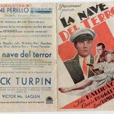 Cine: LA NAVE DEL TERROR, DOBLE PARAMOUNT , 1935, SI TIENE CINE IMPRESO AL DORSO. Lote 20075818
