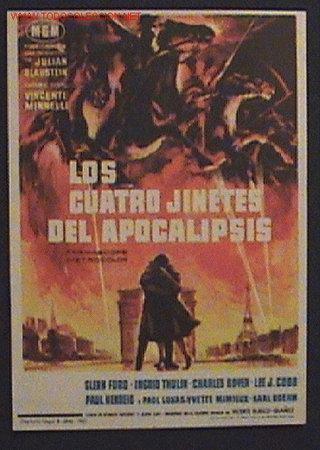 ANTIGUO PROGRAMA DE MANO - LOS CUATRO JINETES DEL APOCALIPSIS - GLEN FORD - DE CONSE (Cine - Folletos de Mano - Terror)