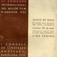 Cine: I CONGRES DE CINEISTES AMATEURS, BARCELONA AÑO 1935 PRIMER CONGRESO CINE AMATEUR DE ESPAÑA. Lote 2517804