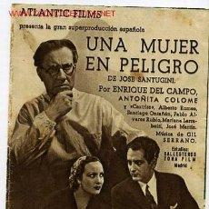Cine: UNA MUJER EN PELIGRO , ATLANTIC FILMS ,1936, DOBLE , SI TIENE CINE IMPRESO , S248. Lote 22791941