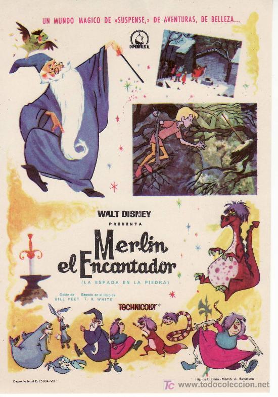 WALT DISNEY.MERLIN EL ENCANTADOR.(LA ESPADA EN LA PIEDRA)COLECCION PROGRAMA CINE. (Cine - Folletos de Mano - Infantil)
