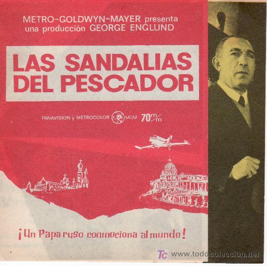 DESPLEGABLE-LAS SANDALIAS DEL PESCADOR.COLECCION PROGRAMA CINE.ANTHONY QUINN (Cine - Folletos de Mano)