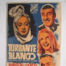 Cine: FOLLETO DE MANO DOBLE - TURBANTE BLANCO - FOX ADRIANO RIMOLDI EMISORA FILMS. Lote 10357336