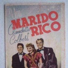 Cine: FOLLETO DE MANO DOBLE - UN MARIDO RICO - CLAUDETTE COLBERT JOEL MC CREA PRESTON STURGES. Lote 10357565