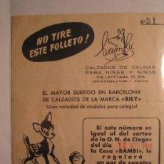 Cine: FOLLETO DE MANO ESPECIAL - BAMBI - DISNEY - RAREZA. Lote 10420299