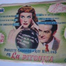 Cine: FOLLETO DE MANO - LA PITONISA - CEPICSA PAULETTE GODDARD RAY MILLAND CEPICSA. Lote 10460063