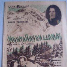 Cine: FOLLETO DE MANO DOBLE - MONTAÑAS EN LLAMAS - MUY RARO. Lote 22789436