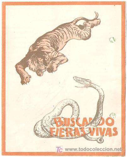 BUSCANDO FIERAS VIVAS PROGRAMA DOBLE RKO FRANK BUCK DOCUMENTAL B MUY RARO (Cine - Folletos de Mano - Documentales)