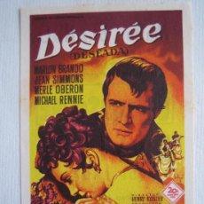 Cine: DESIREE - FOLLETO DE MANO SOLIGO - BRANDO MERLE OBERON NAPOLEON BONAPARTE - IMPRESO CINE KURSAAL. Lote 104467419
