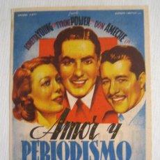 Cine: AMOR Y PERIODISMO - FOLLETO MANO ORIGINAL SOLIGO - FOX LORETTA YOUNG TYRONE POWER. Lote 10713092