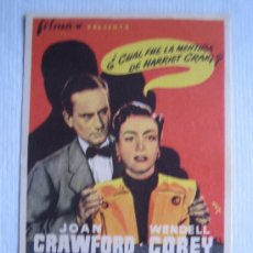 Cine: FOLLETO DE MANO - LA ENVIDIOSA - FILMAX - JOAN CRAWFORD WENDELL COREY VINCENT SHERMAN HARRIET CRAIG. Lote 10753876