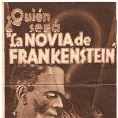 Cine: LA NOVIA DE FRANKENSTEIN PROGRAMA DOBLE ORIGINAL GRANDE UNIVERSAL BORIS KARLOFF. Lote 22939900