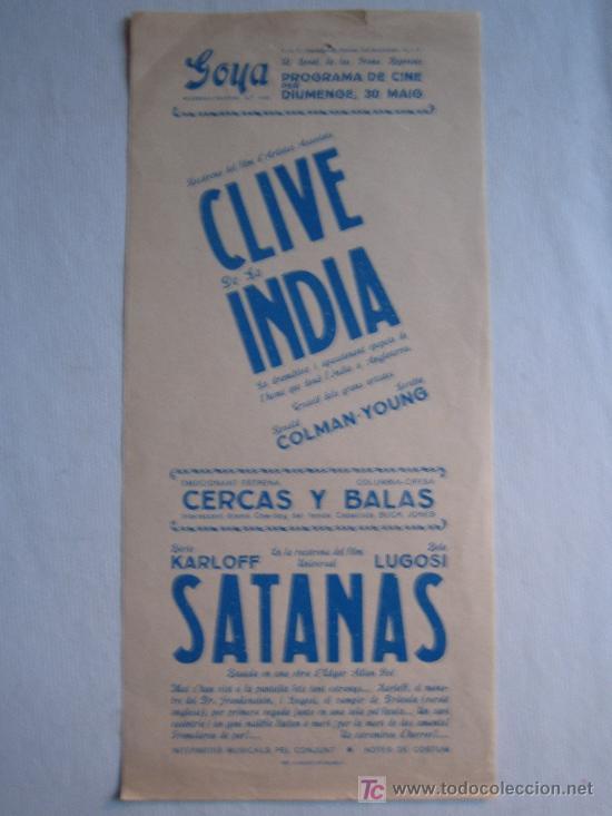 FOLLETO DE MANO LOCAL - CLIVE DE LA INDIA - SATANAS - BORIS KARLOFF - BELA LUGOSI (Cine - Folletos de Mano - Terror)