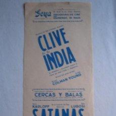 Cine: FOLLETO DE MANO LOCAL - CLIVE DE LA INDIA - SATANAS - BORIS KARLOFF - BELA LUGOSI. Lote 10944194