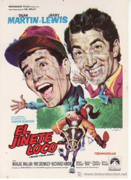PROGRAMA DE CINE ORIGINAL- COLECCIONALOS. EL JINETE LOCO. DEAN MARTIN, JERRY LEWIS (Cine - Folletos de Mano - Westerns)