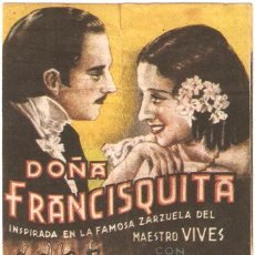 Cine: DOÑA FRANCISQUITA PROGRAMA SENCILLO ARAJOL CINE ESPAÑOL RAQUEL RODRIGO A. Lote 11412380