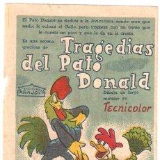 Cine: TRAGEDIAS DEL PATO DONALD PROGRAMA SENCILLO ARAJOL WALT DISNEY. Lote 11412430