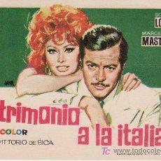 Cine: MATRIMONIO A LA ITALIANA-PROGRAMA DE MANO-COLECCIONISMO EN GENERAL-RASTRILLOPORTOBELLO. Lote 23174668