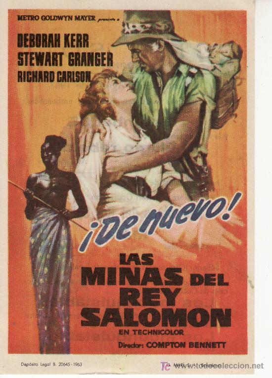LAS MINAS DEL REY SOLOMON. PROGRAMA DE MANO -AÑO 1963 METRO GOLDWYN MAYER (Cine - Folletos de Mano)