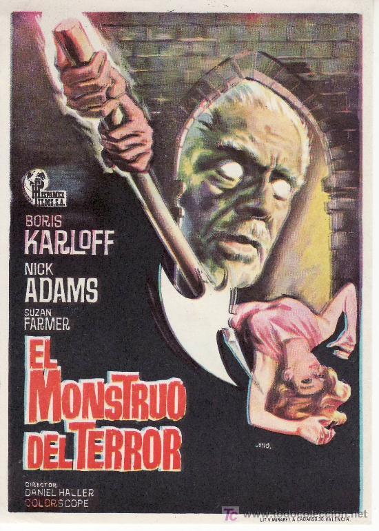 PROGRAMA DE MANO -EL MONSTRUO DEL TERROR -COLECCIONISMO EN GENERAL-RASTRILLOPORTOBELLO (Cine - Folletos de Mano - Terror)