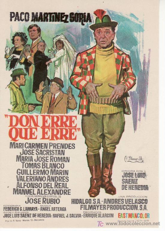 DON ERRE QUE ERRE- CINE COLECCION- PROGRAMA DE MANO. PACO MARTINEZ SORIA (Cine - Folletos de Mano - Clásico Español)