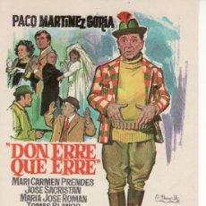 Cine: DON ERRE QUE ERRE- CINE COLECCION- PROGRAMA DE MANO. PACO MARTINEZ SORIA. Lote 20081411