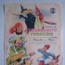 Cine: FOLLETO DE MANO - AVENTURAS DE CUCURUCHITO Y PINOCHO - COLLODI SELLO CYRE FILMS. Lote 11884124