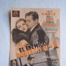 Cine: FOLLETO DE MANO - EL ENEMIGO PUBLICO Nº 1 - METRO CLARK GABLE MYRNA LOY. Lote 11926143