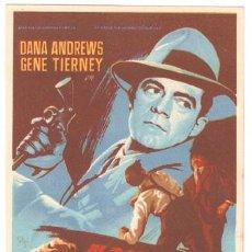 Cine: AL BORDE DEL PELIGRO PROGRAMA SENCILLO 20TH CENTURY FOX SOLIGO GENE TIERNEY DANA ANDREWS. Lote 12091750