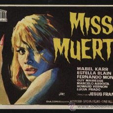 Foglietti di film di film antichi di cinema: P-0491- MISS MUERTE (ANTONIO JIMÉNEZ ESCRIBANO - GUY MAIRESSE - HOWARD VERNON - MABEL KARR). Lote 157812444