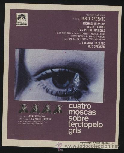 P-0704- CUATRO MOSCAS SOBRE TERCIOPELO GRIS (MICHAEL BRANDON - MIMSY FARMER - JEAN-PIERRE MARIELLE) (Cine - Folletos de Mano - Terror)