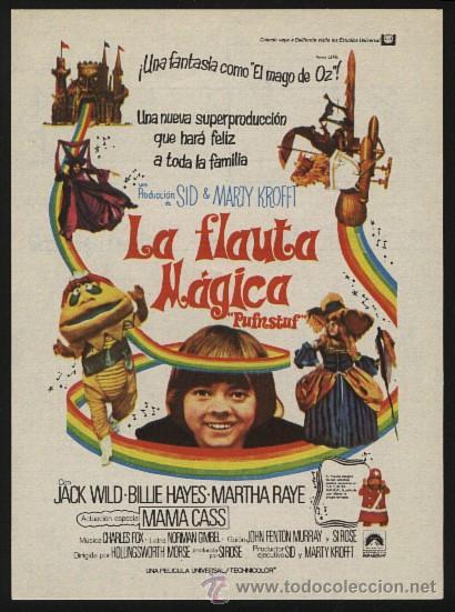 P-0264- LA FLAUTA MAGICA (PUFNSTUF) JACK WILD - BILLIE HAYES - MARTHA RAYE - BILLY BARTY (Cine - Folletos de Mano - Infantil)