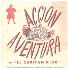Cine: EL CAPITAN KIDD PROGRAMA SENCILLO CONCURSO CHARLES LAUGHTON RANDOLPH SCOTT. Lote 12763124