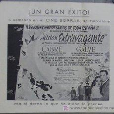 Cine: MISION EXTRAVAGANTE PROGRAMA SENCILLO GRANDE CINE ESPAÑOL MARIO CABRE TOROS. Lote 18403849