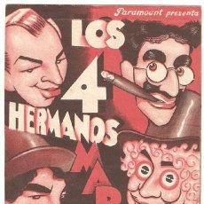 Cine: SOPA DE GANSO PROGRAMA DOBLE PARAMOUNT HERMANOS MARX. Lote 27276718