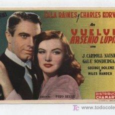 Cine: VUELVE ARSENIO LUPÍN. SENCILLO DE UNIVERSAL. CINE MERIDIANA. 1947 ¡IMPECABLE!. Lote 19472466