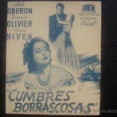 Cine: CUMBRES BORRASCOSAS, LAURENCE OLIVIER, MERLE OBERON, EMPRESA CONTINENTAL DE MOLLET, 1945. Lote 24850834