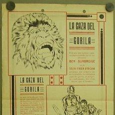 Cine: LA CAZA DEL GORILA 1926 PROGRAMA LOCAL GRANDE CINE MUDO BEN BURBRIDGE DOCUMENTAL AFRICA. Lote 12902689