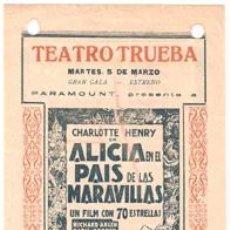 Cine: ALICIA EN EL PAIS DE LAS MARAVILLAS PROGRAMA LOCAL GARY COOPER CARY GRANT LEWIS CARROLL. Lote 22626636