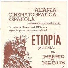 Cine: ETIOPIA ABISINIA NEGUS PROGRAMA SENCILLO GRANDE ACE DOCUMENTAL MARTIN RIKLI UFA SERIAL JORNADA 2. Lote 12913062