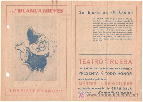 BLANCA NIEVES Y LOS SIETE ENANITOS PROGRAMA DOBLE FILMOFONO WALT DISNEY EL SABIO (Cine - Folletos de Mano - Infantil)