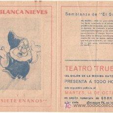 Cine: BLANCA NIEVES Y LOS SIETE ENANITOS PROGRAMA DOBLE FILMOFONO WALT DISNEY EL SABIO. Lote 18449923
