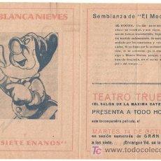 Cine: BLANCA NIEVES Y LOS SIETE ENANITOS PROGRAMA DOBLE FILMOFONO WALT DISNEY EL MOCOSO. Lote 18449925